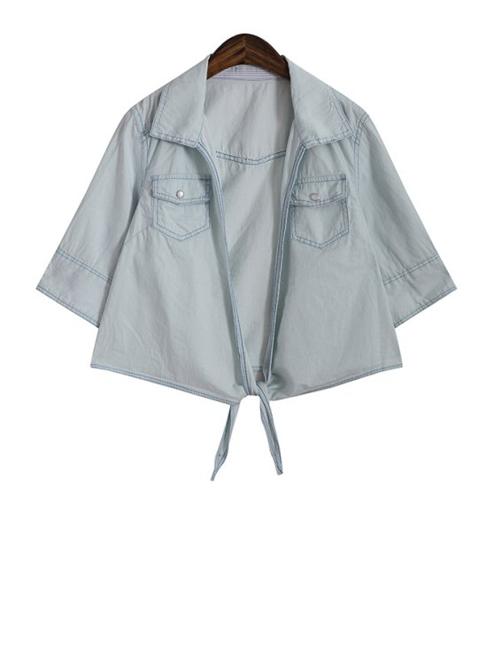 women's Solid Color Denim Half Sleeve Coat - LIGHT BLUE ONE SIZE(FIT SIZE XS TO M)