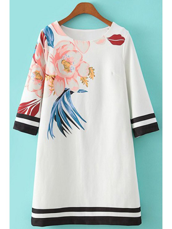 ladies Floral Print Stripe Half Sleeve Dress - WHITE S