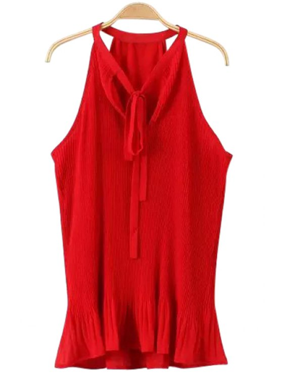 unique Solid Color Tie-Up Ruffle Sleeveless Blouse - RED S