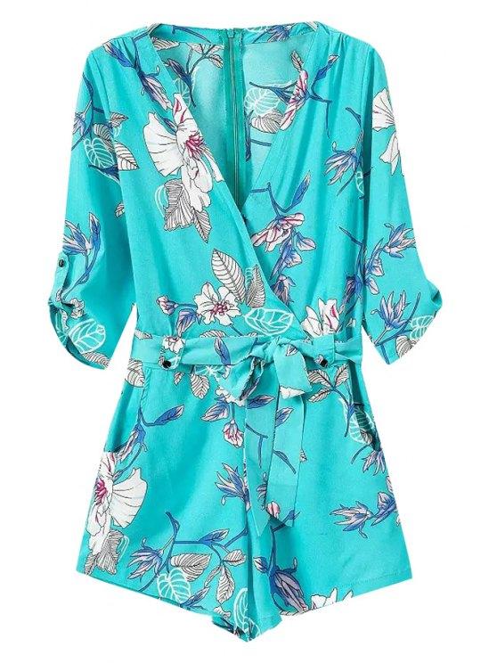 best Tie-Up Floral Print 3/4 Sleeve Romper - BLUE S