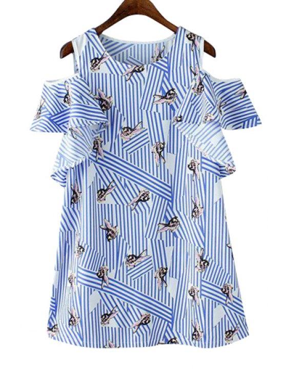 new Rabbit Print Stripe Off The Shoulder Dress - BLUE S