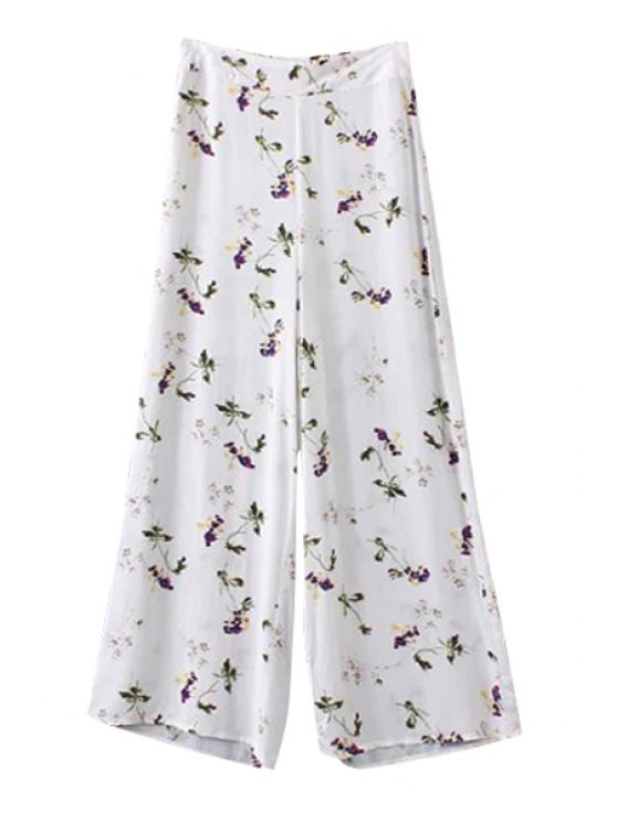 shops Tiny Floral Print Zipper Fly Pants - WHITE S