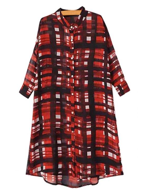 lady Red Plaid Half Sleeve Shirt - RED M