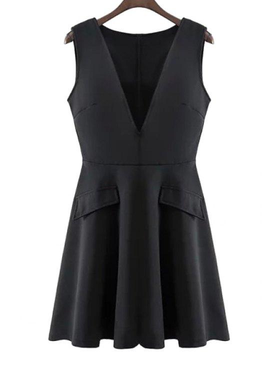 outfits V-Neck Solid Color Back Zipper Dress - BLACK S