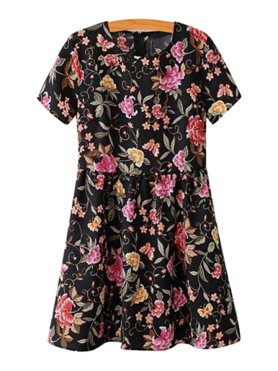 fashion Floral Print Jewel Neck Short Sleeve Dress - BLACK S
