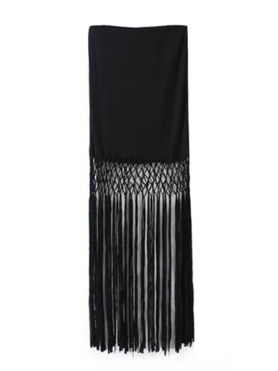 ladies Solid Color Tassel Splicing Skirt - BLACK S