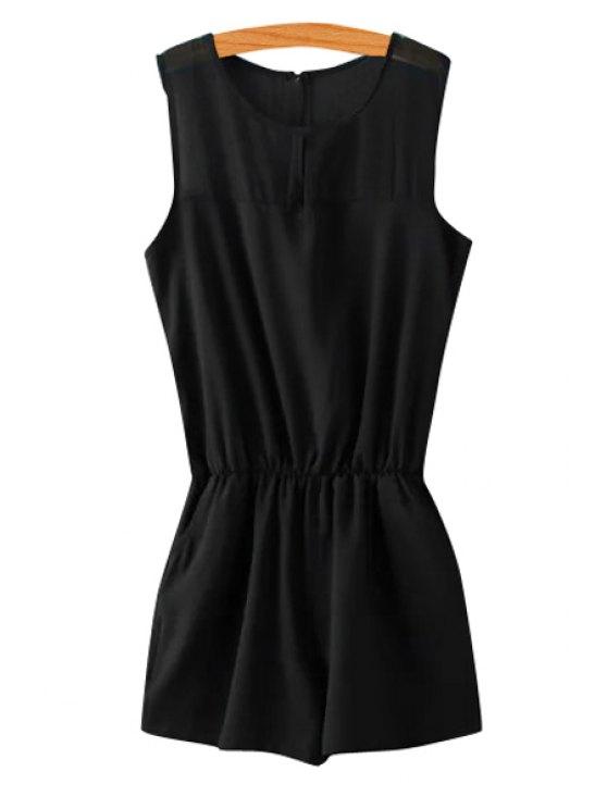 fashion Solid Color Elastic Waist Sleeveless Romper - BLACK S