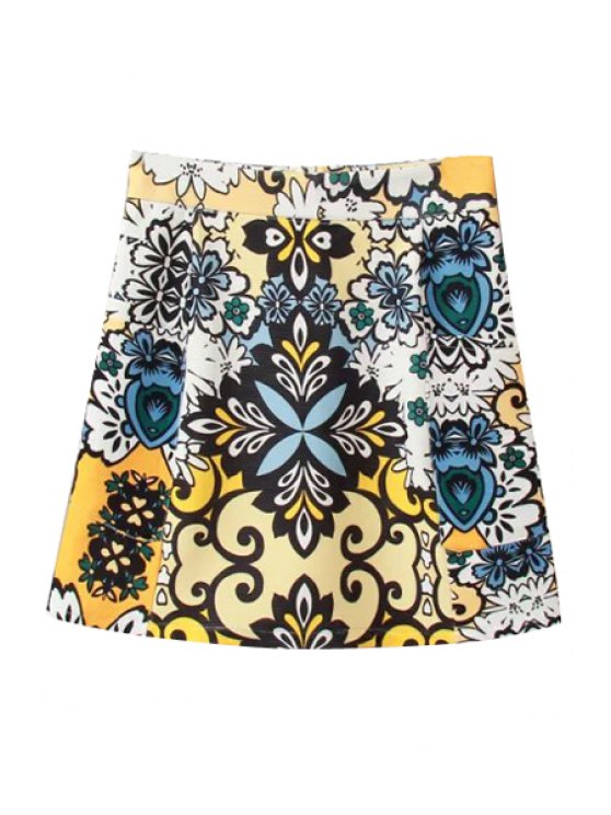 outfit Color Block Print Zipper Fly Skirt - YELLOW S
