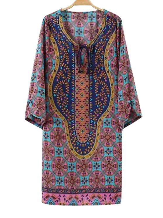 new Tie-Up Print Long Sleeve Dress - WATER RED S