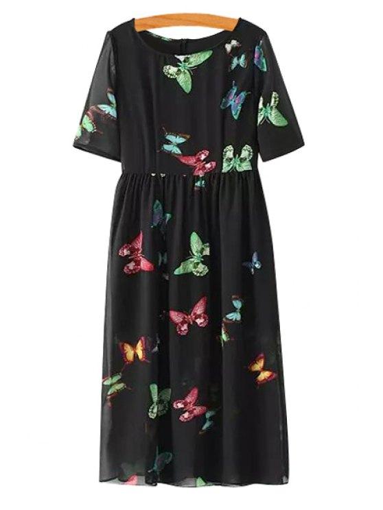fancy Colorful Butterfly Print Short Sleeve Dress - BLACK S