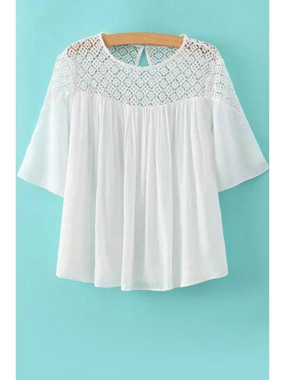 chic Crochet Spliced Half Sleeve Blouse - WHITE S