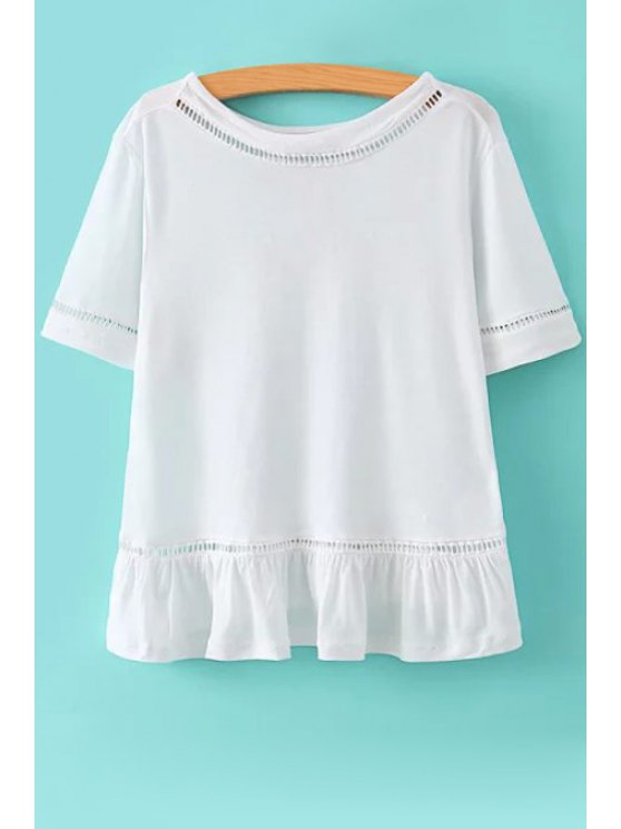 ladies Solid Color Ruffled Short Sleeve T-Shirt - WHITE S