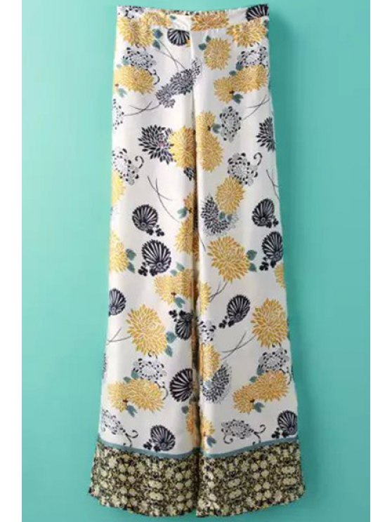 outfit Floral Print Spliced Wide Leg Pants - WHITE S