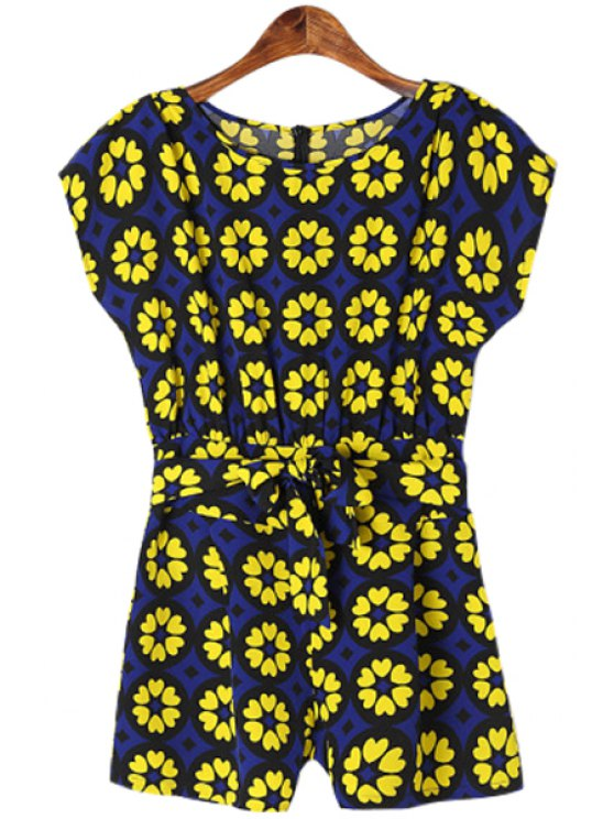 shops Short Sleeve Print Self-Tie Romper - BLUE AND YELLOW S