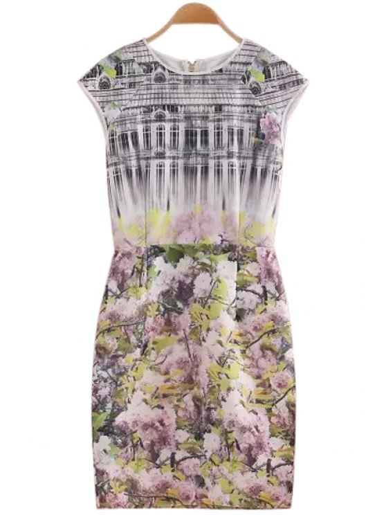 womens Building and Floral Print Short Sleeve Dress - COLORMIX S