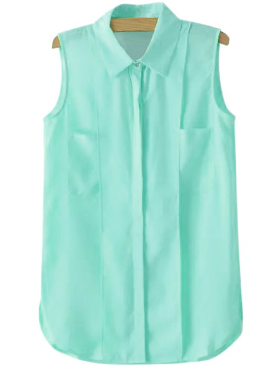 outfit Solid Color Shirt Neck Sleeveless Shirt - BLUE M