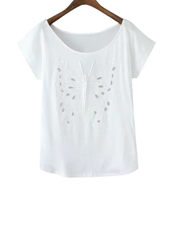 sale Butterfly Embroidery Short Sleeve T-Shirt - WHITE S