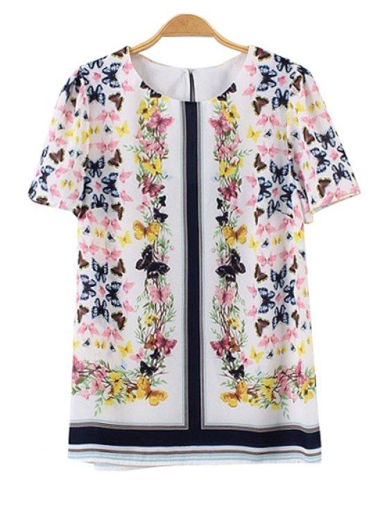 ladies Full Butterfly Print Short Sleeve T-Shirt - WHITE S