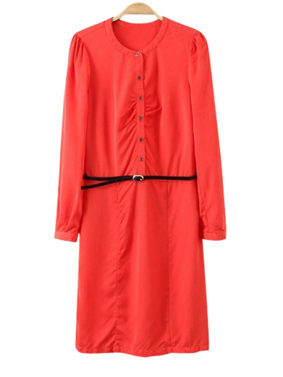 shop Solid Color Breasted Long Sleeve Dress - RED M