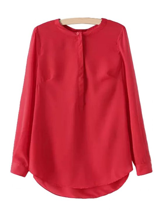 outfit Solid Color Chiffon Long Sleeve Blouse - RED S