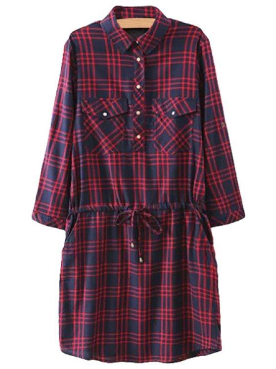 fancy Checked Shirt Neck Drawstring Dress - CHECKED S