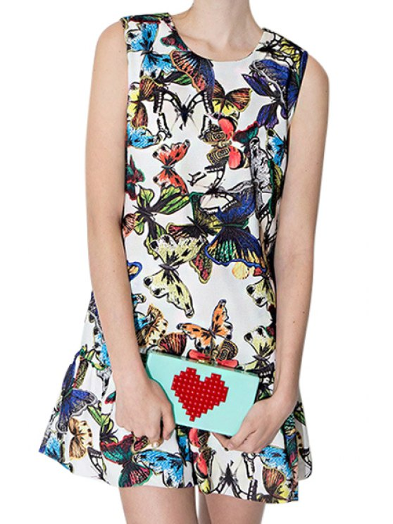 affordable Full Butterfly Print Sleeveless Dress - COLORMIX S