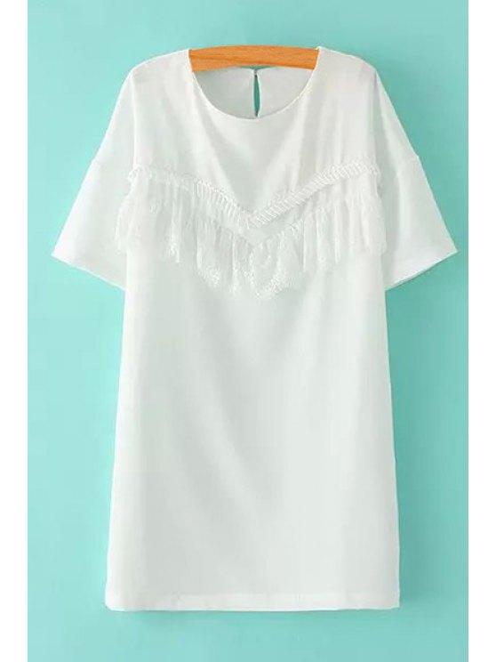 new Lace Spliced Short Sleeve White Dress - WHITE M