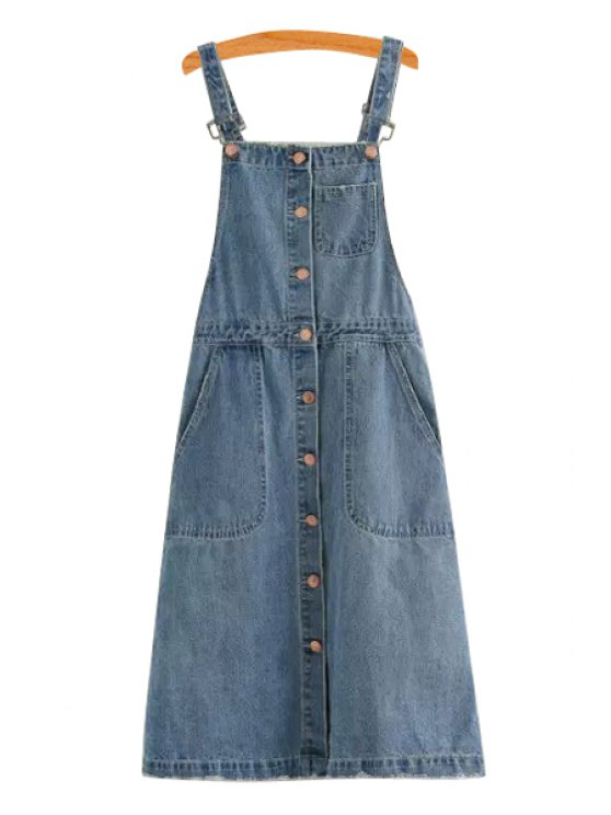 shop Straps Single-Breasted Denim Dress - BLUE S