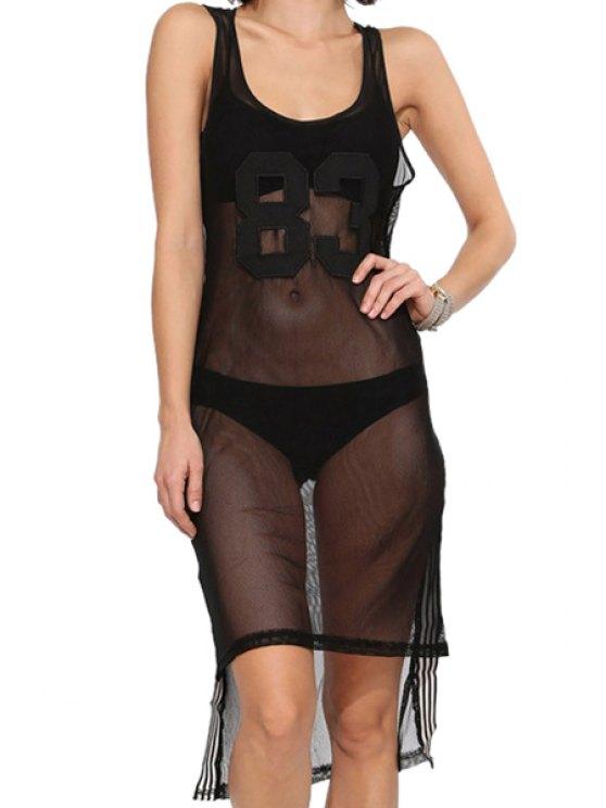 trendy Letter Stripe Asymmetrical Voile Dress - BLACK S