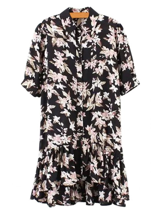 trendy Floral Print Asymmetrical Half Sleeve Dress - BLACK ONE SIZE(FIT SIZE XS TO M)