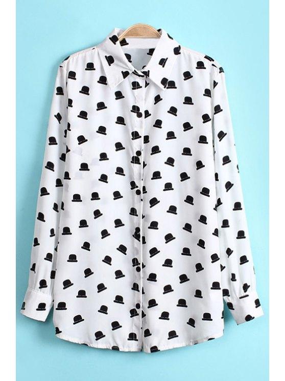 buy Hat Print Long Sleeve Shirt - WHITE S