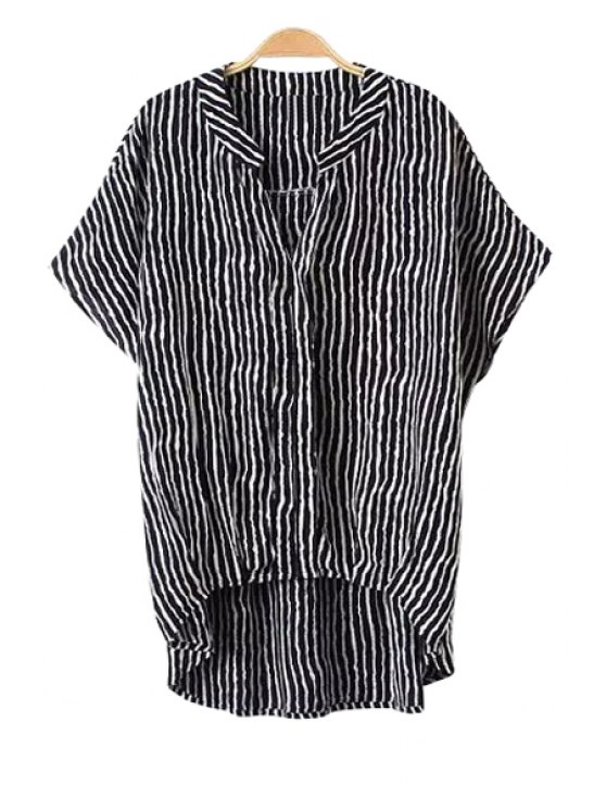 best V-Neck Stripe Asymmetrical Shirt - BLACK ONE SIZE(FIT SIZE XS TO M)
