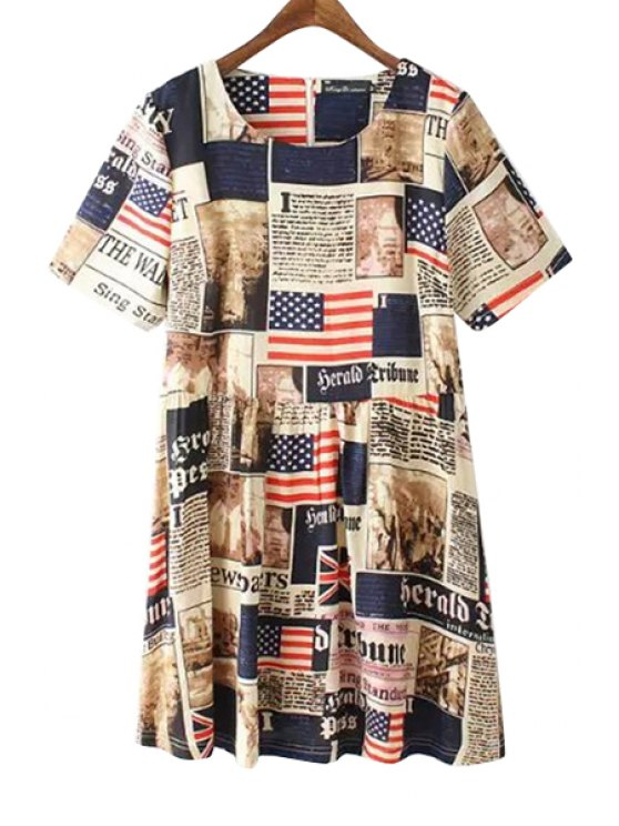 fancy Old Glory Letter Print Short Sleeve Dress - COLORMIX M