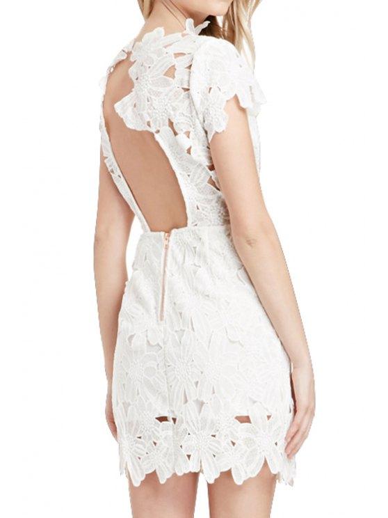 women Lace Crochet Flower Backless Dress - WHITE L