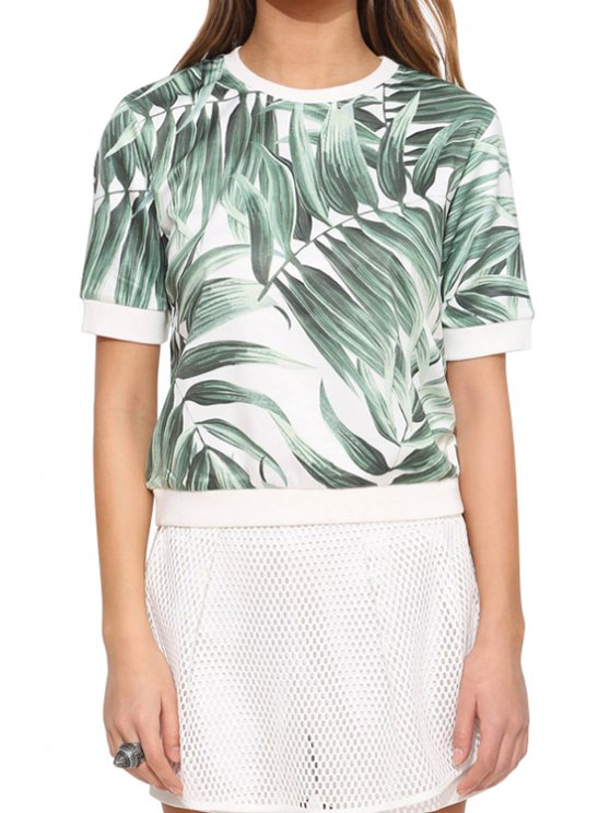 chic Leaf Print Short Sleeve T-Shirt - WHITE AND GREEN S