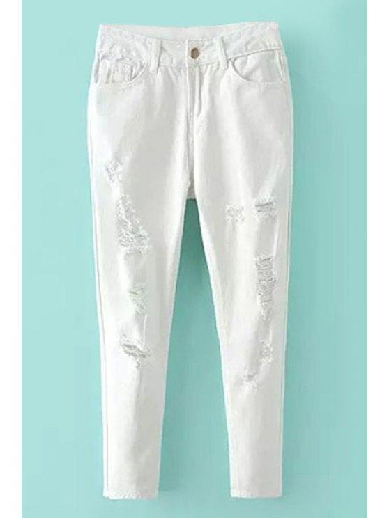 hot Destroy Wash Zipper Fly Jeans - WHITE 26
