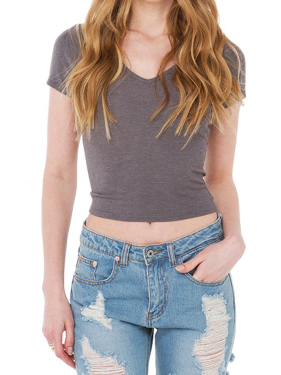 latest Solid Color Short Sleeve Lace Up T-Shirt - GRAY S