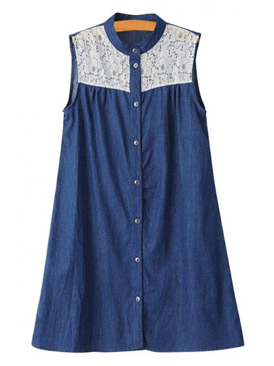 women Stand-Up Collar Lace Splicing Denim Dress - DEEP BLUE S