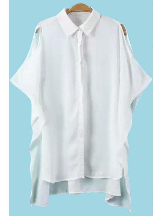 sale White Off The Shoulder Chiffon Blouse - WHITE S