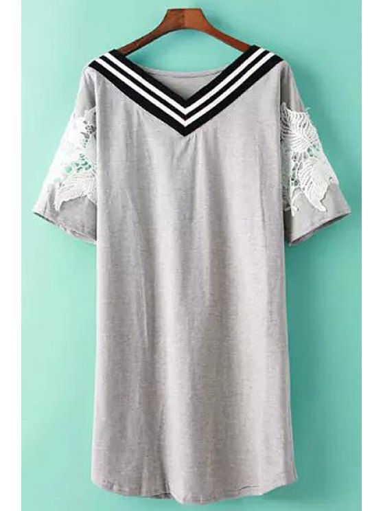 online V-Neck Stripe Lace Splicing Dress - GRAY ONE SIZE(FIT SIZE XS TO M)