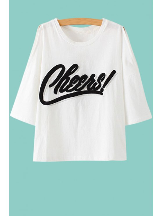women Off The Shoulder Letter Pattern T-Shirt - WHITE M
