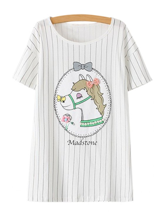 outfits Horse Print Striped Short Sleeve T-Shirt - WHITE M