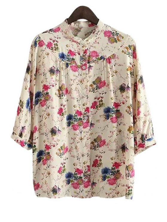 outfits Tiny Floral Print 3/4 Sleeve Shirt - ROSE S