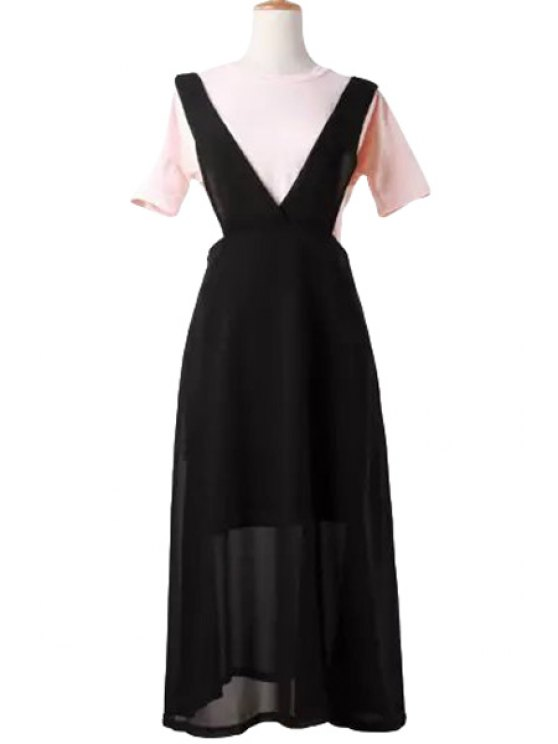 outfit V-Neck Solid Color Side Zipper Dress - BLACK ONE SIZE(FIT SIZE XS TO M)