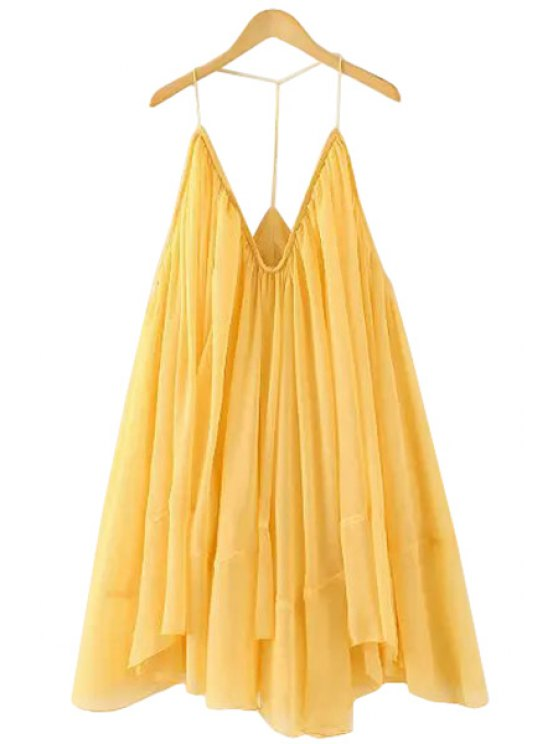 shops Spaghetti Strap Ruffle Solid Color Dress - YELLOW ONE SIZE(FIT SIZE XS TO M)