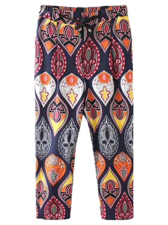 shops Color Block Print Drawstring Pants - COLORMIX S