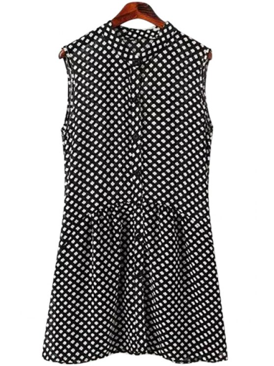 shops Print Stand Neck Sleeveless Dress - WHITE AND BLACK S