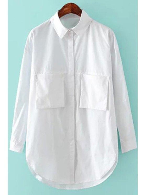 womens White Long Sleeve Pocket Shirt - WHITE XS