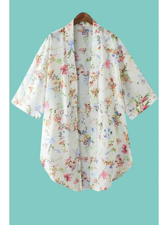 outfits Tiny Floral Print Half Sleeve Coat - WHITE S