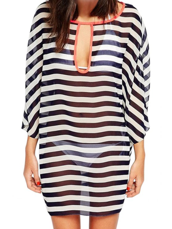 women's Striped Nine-Minute Sleeve Chiffon Dress - STRIPE ONE SIZE(FIT SIZE XS TO M)